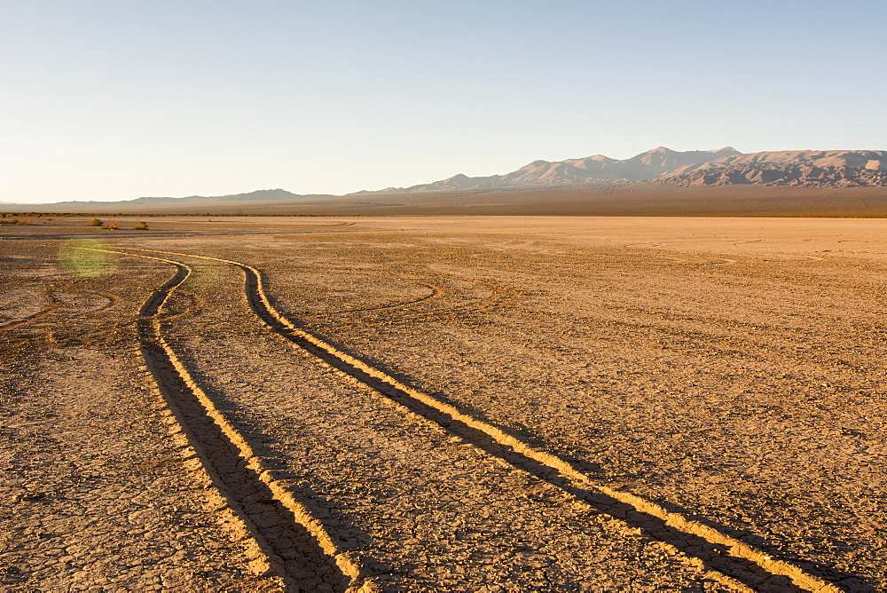Tire tracks through a dry lake bed lead the eye to wards a mountain range at dawn, Barreal, San Juan, Argentina