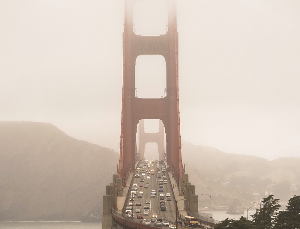 Golden Gate Bridge on a foggy day, San Francisco, California, United States of America