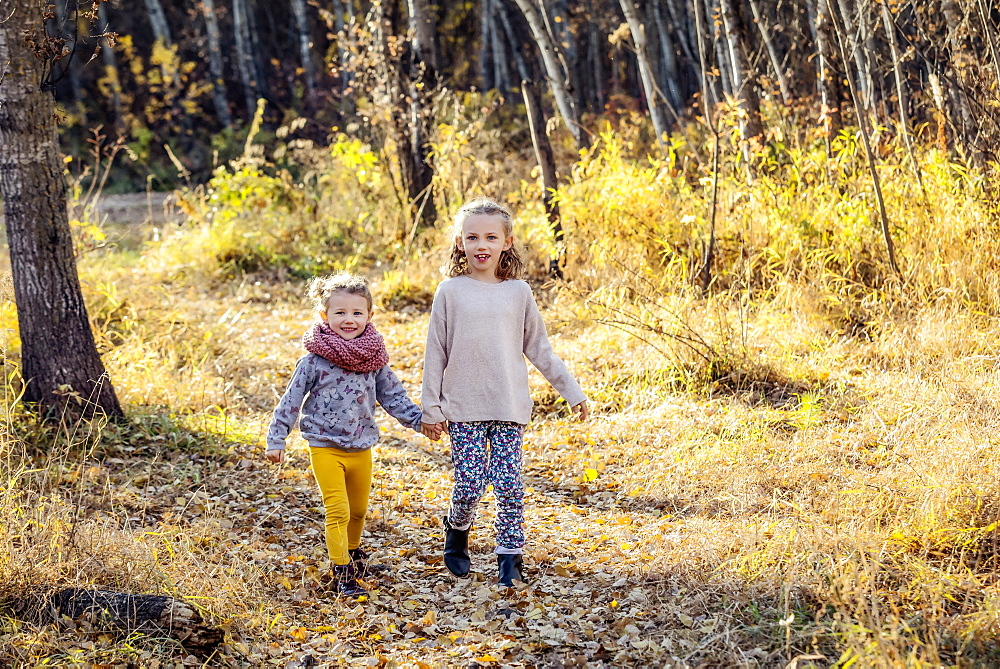 Two young girls who are sisters running through the woods in a city park on a warm fall evening, Edmonton, Alberta, Canada