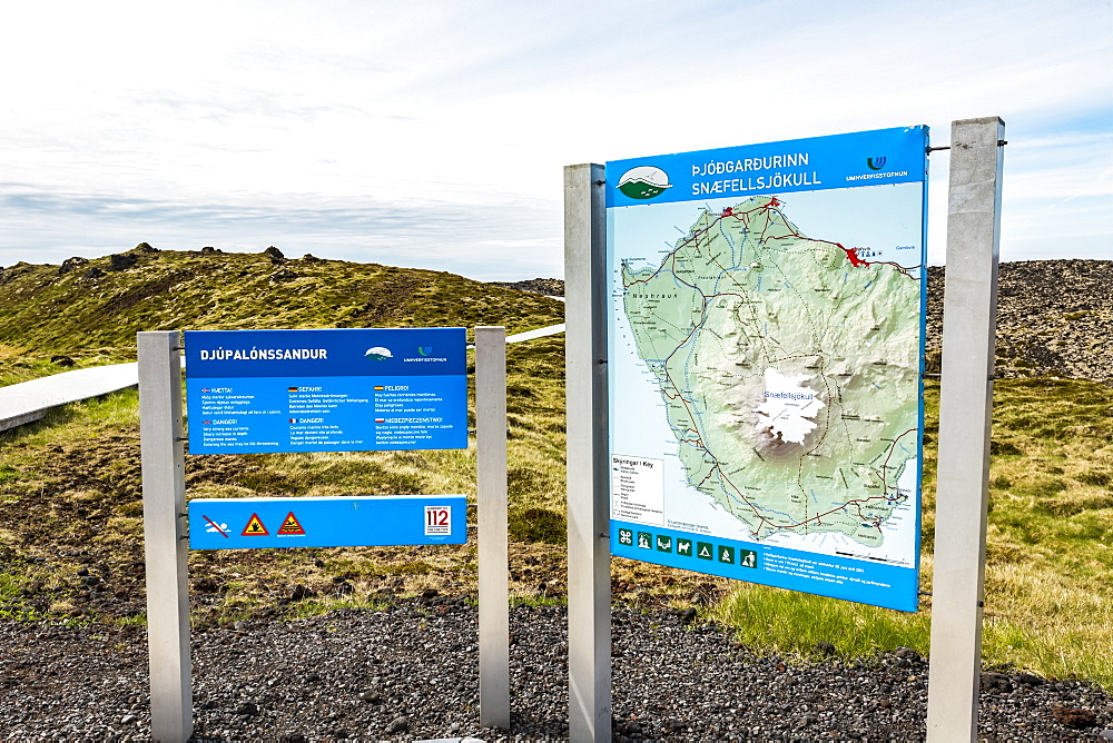 A tourist information sign at Snaefellsjokull National Park in Western Iceland, Iceland