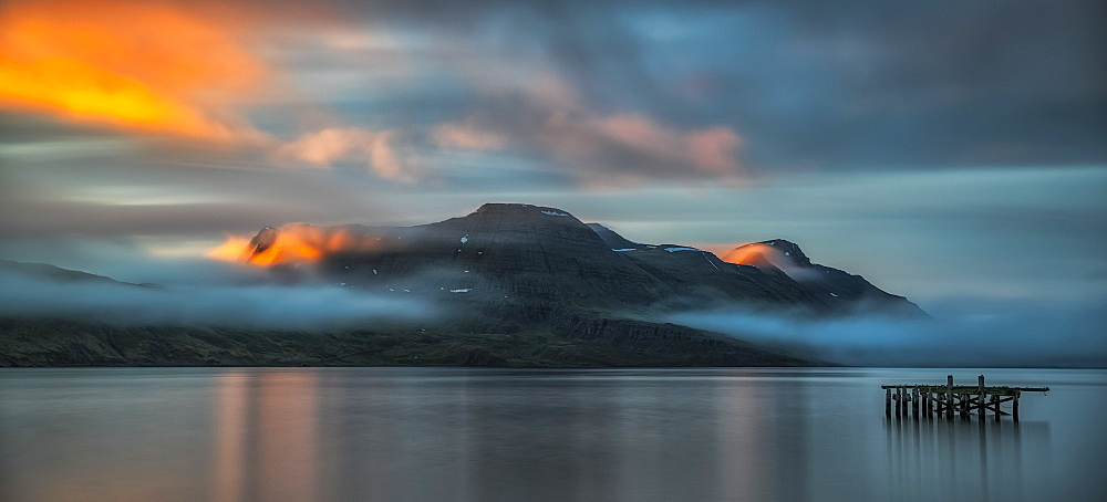 Sunset light over the fjord near the remote town of Djupavik along the Strandir Coast, Djupavik, West Fjords, Iceland