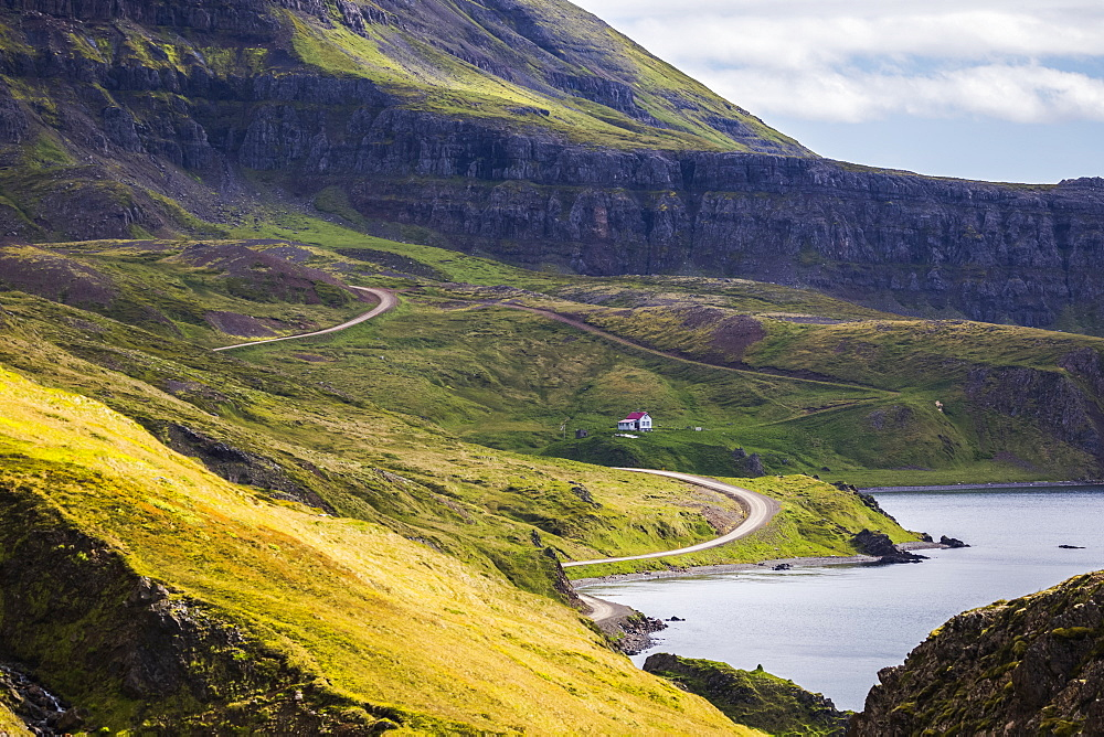 The road along the coast of the Strandir Coast, Djupavik, West Fjords, Iceland