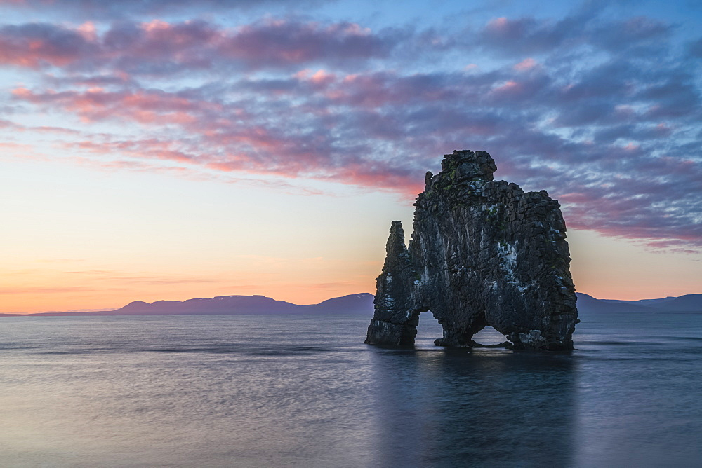 The rock formation known as Hvitserkur, at sunset, Northern Iceland, Iceland