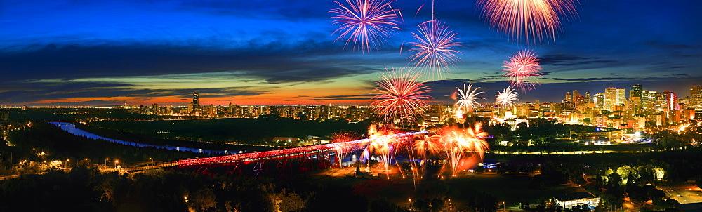 Fireworks in the Edmonton River Valley, Edmonton, Alberta, Canada