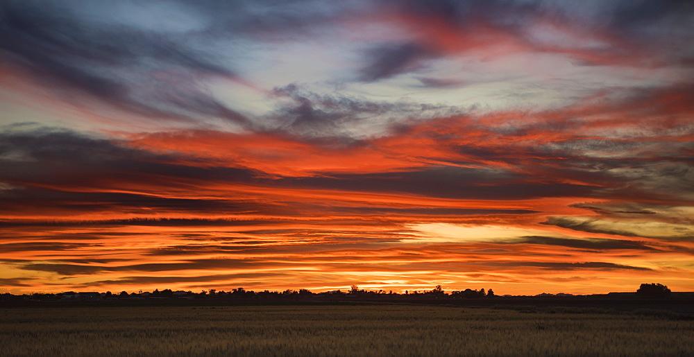 A wonderful red Arizona sunset near Casa Grande, Arizona, United States of America