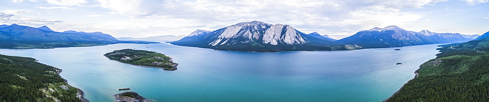 Tagish lake and Bove Island at dusk, near Carcross, Yukon Territory, Canada