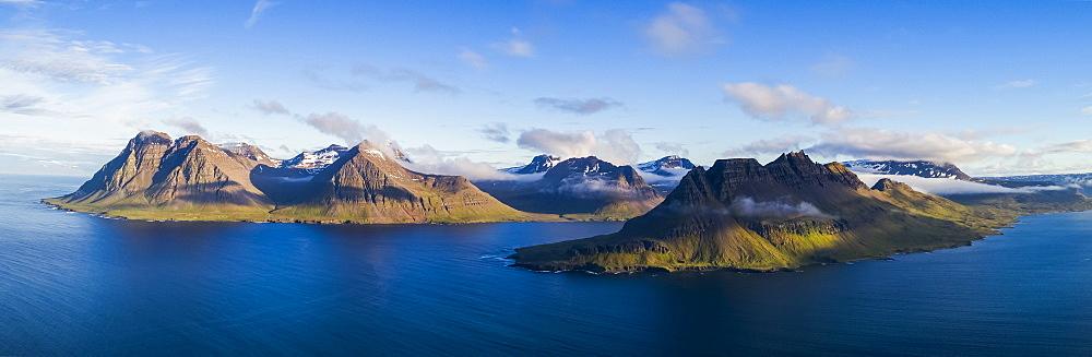 Panoramic of the Strandir Coast, Djupavik, West Fjords, Iceland