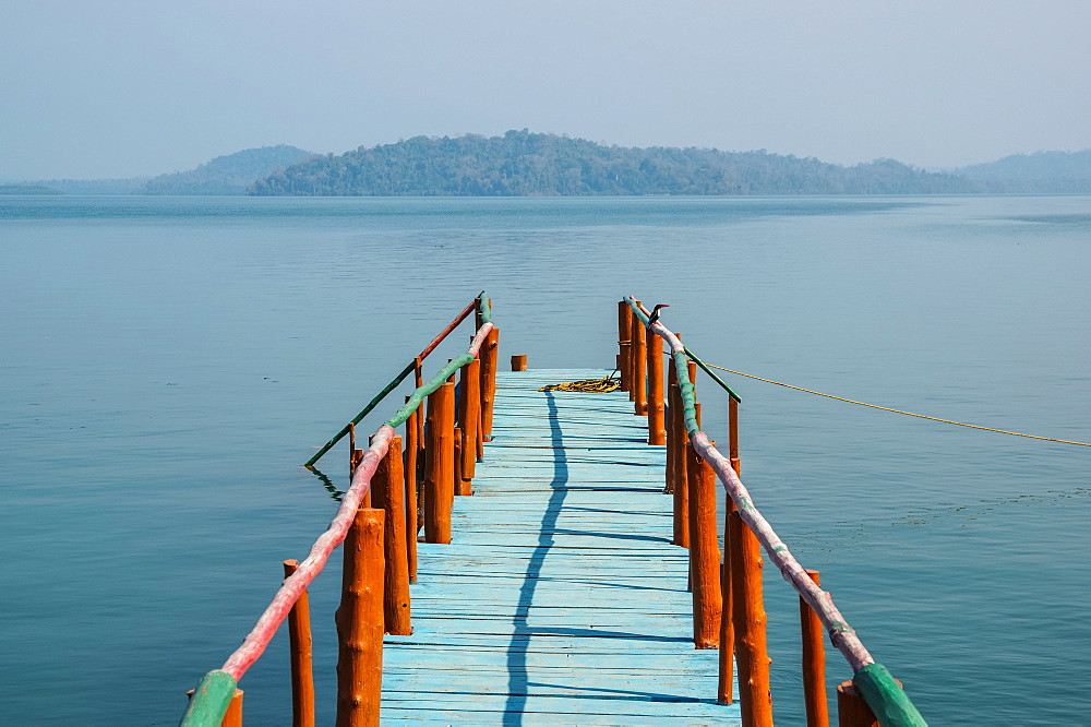 A dock leading out to the tranquil waters in the Bay of Bengal, Andaman Islands, India
