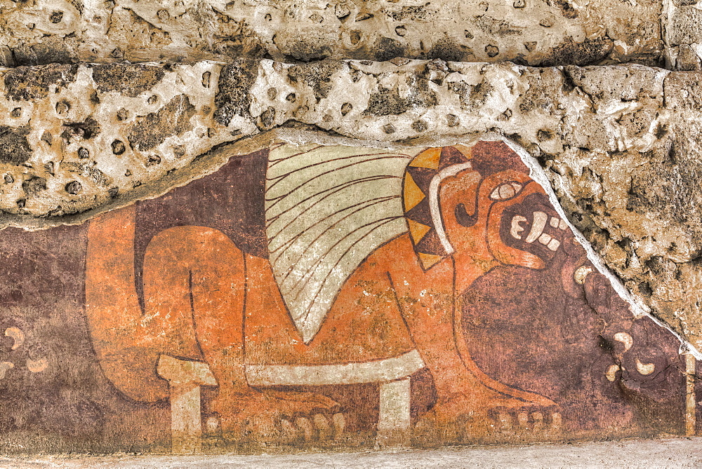 Wall mural of a jaguar, Palace of Tetitla, Teotihuacan Archeological Zone, State of Mexico, Mexico