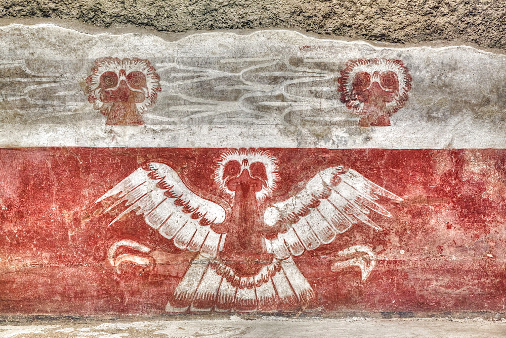 Wall mural of eagles, Palace of Tetitla, Teotihuacan Archeological Zone, State of Mexico, Mexico