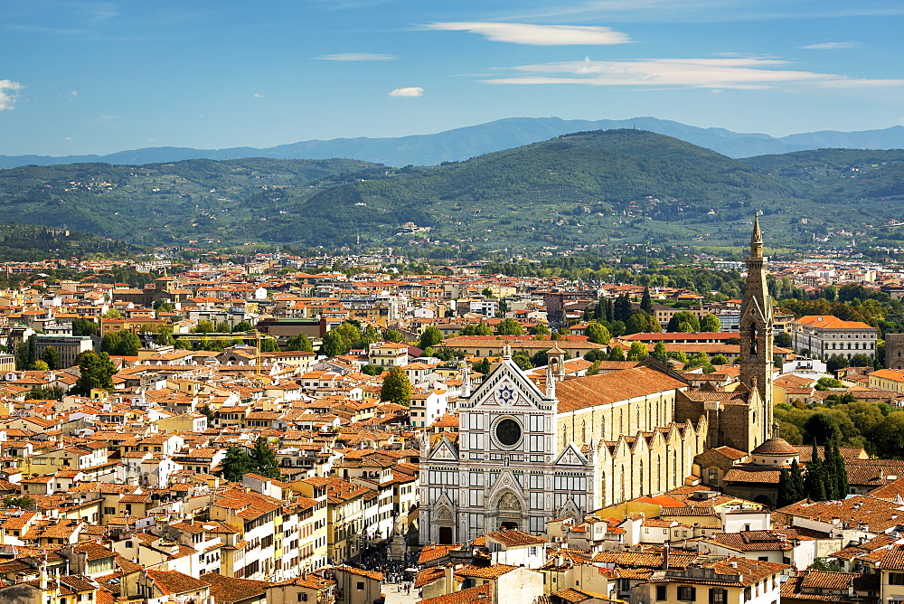 View over Florence with Santa Croce church and mountain range in the background, Florence, Tuscany, Italy