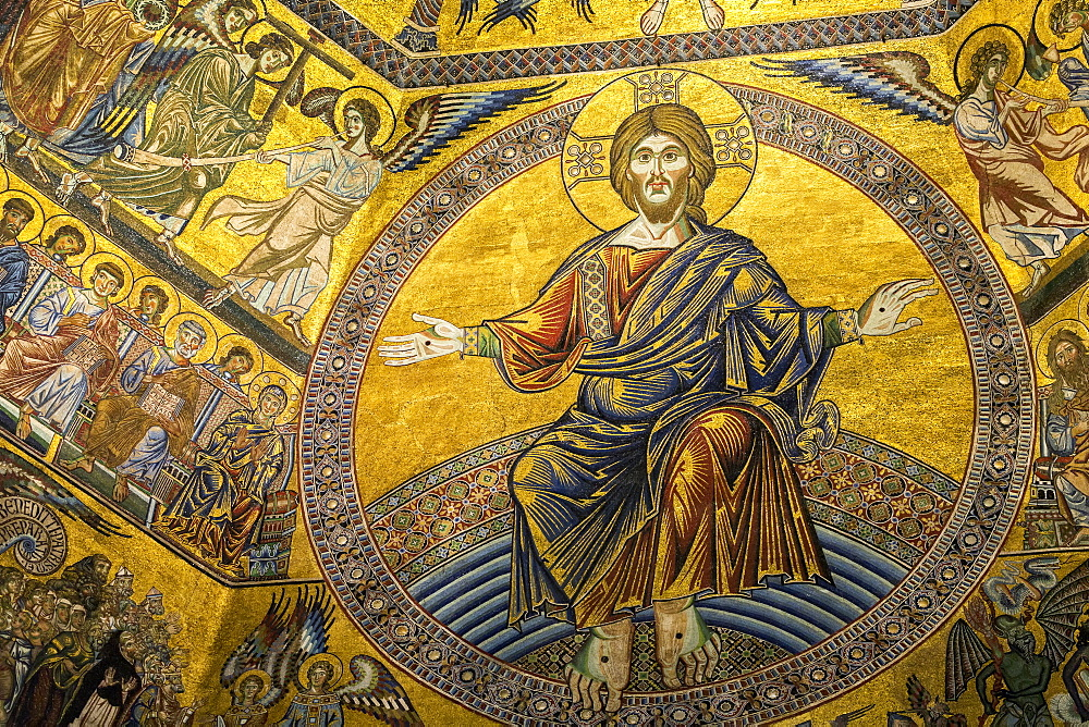 Close-up of the gold mosaic of Christ and figures painted in the Florence Cathedral dome, Florence, Tuscany, Italy