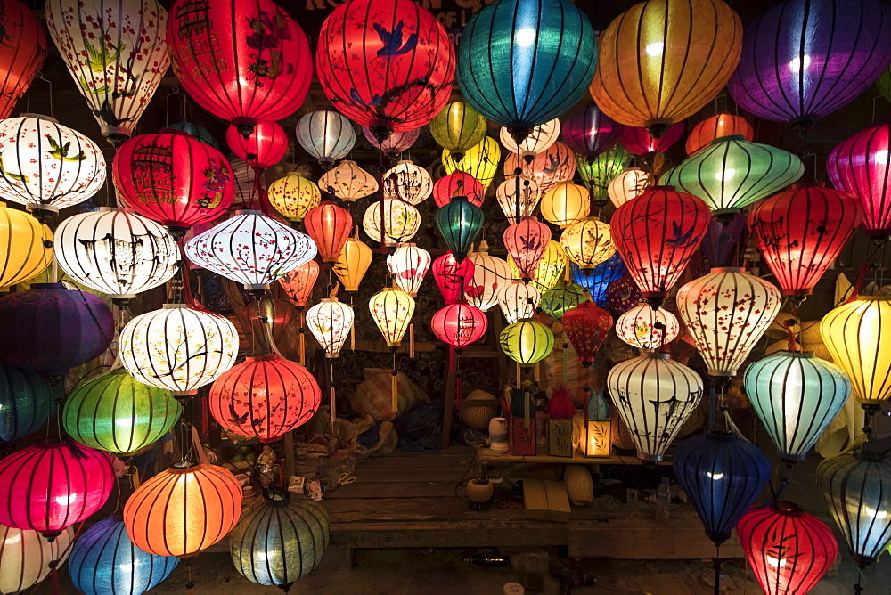 Lanterns for sale in the Old Town at night, Hoi An, Quang Nam, Vietnam