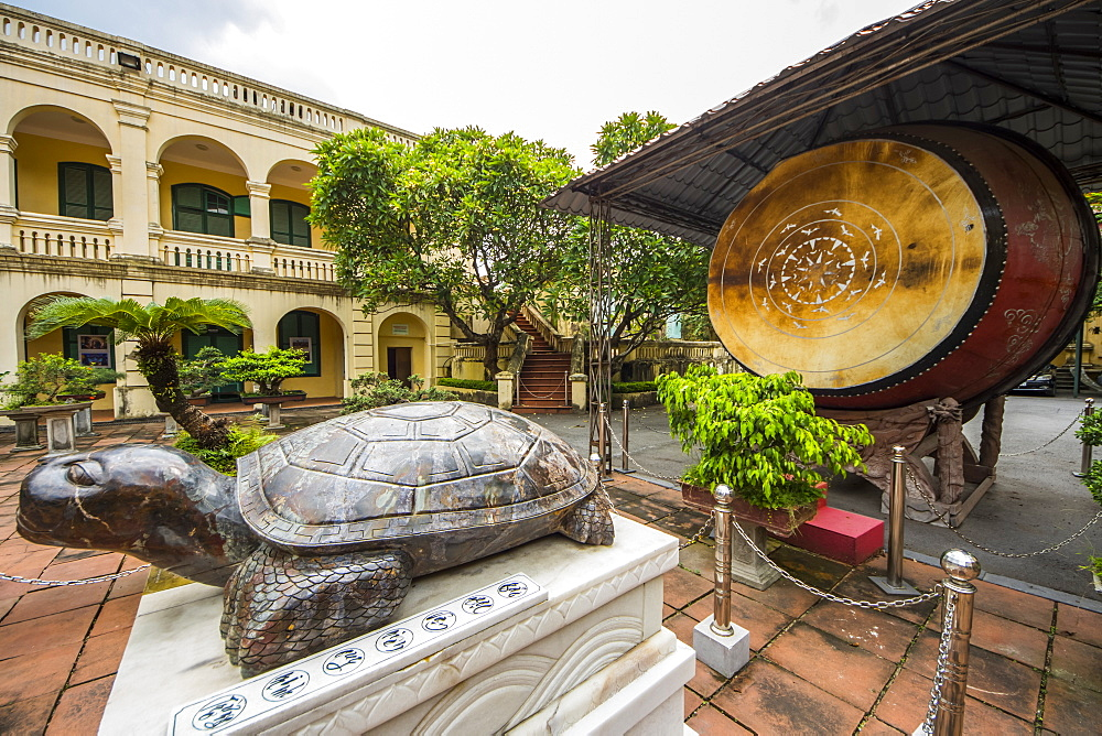 Giant precious sapphire turtle at the Central Sector of the Imperial Citadel of Thang Long, Hanoi, Vietnam