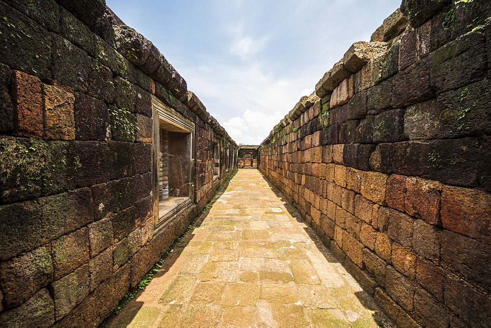 Walls and corridor in the South Quadrangle, Vat Phou Temple Complex, Champasak, Laos