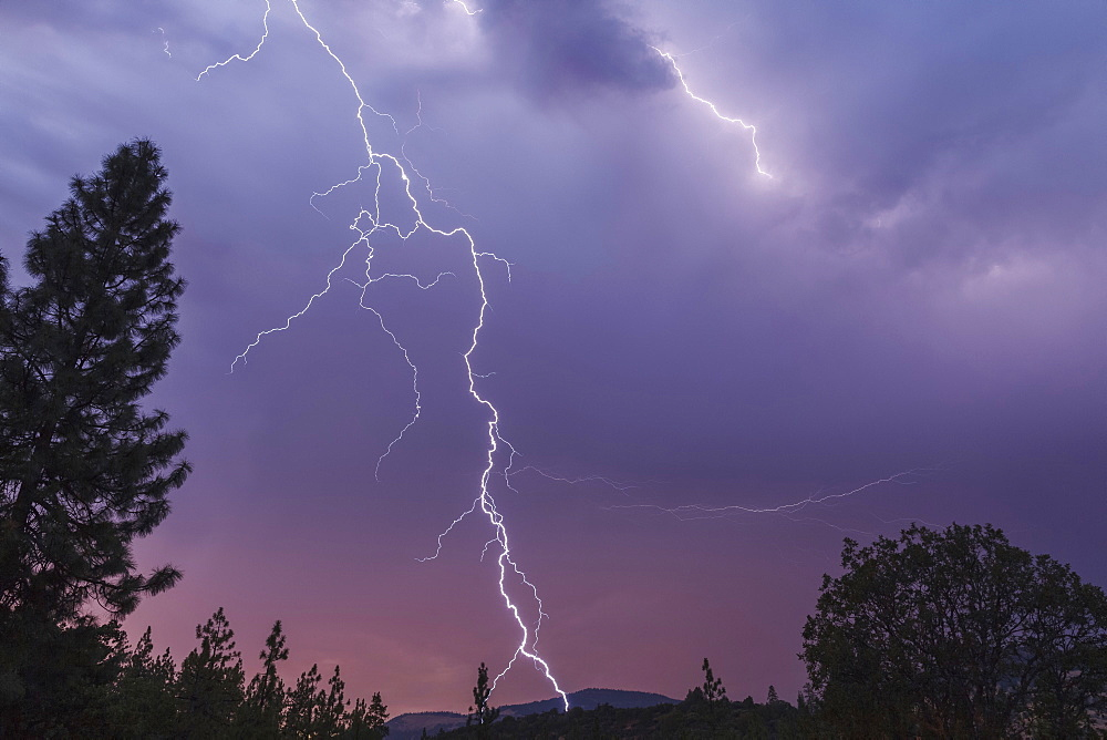 Lightning bolt strikes in this spectacular late evening image, Cascade Siskiyou National Monument, Ashland, Oregon, United States of America