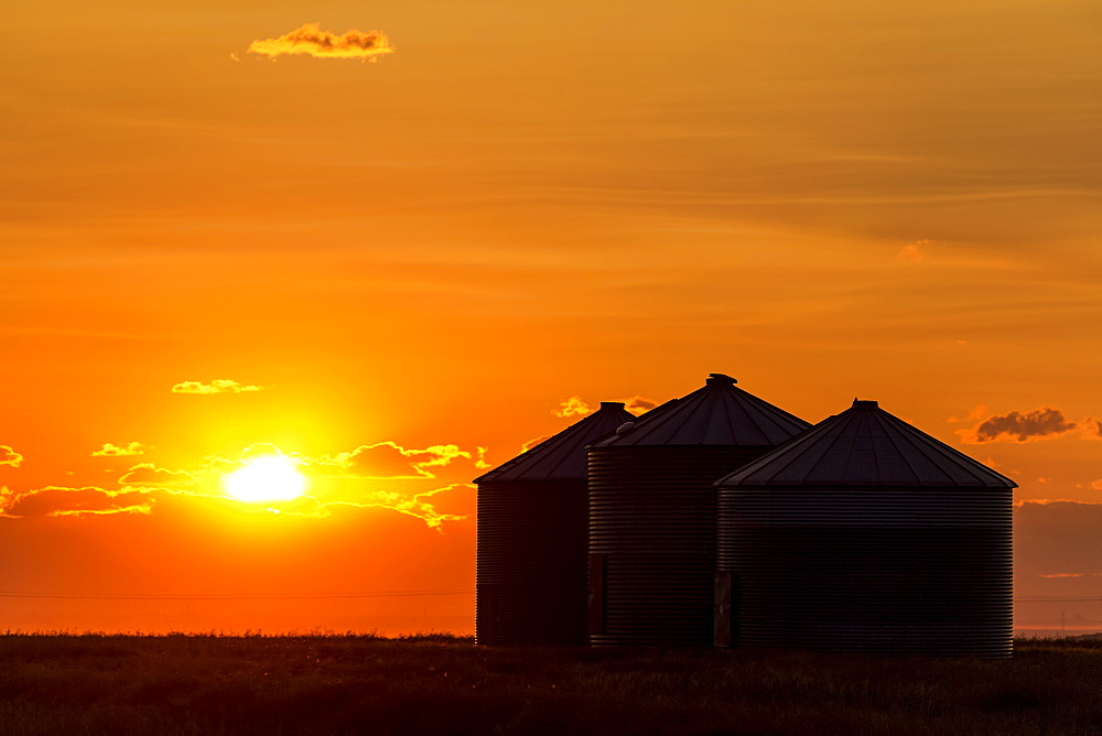Silhouette of large metal grain bins at sunrise with orange sun rising over clouds, Alberta, Canada