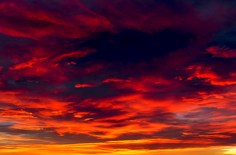 Dramatic colourful cloud formations at sunset, Calgary, Alberta, Canada