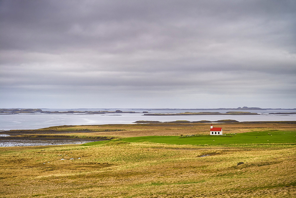 Remote church amongst fields near Stykkisholmur, Snaefellsnes peninsula, Iceland