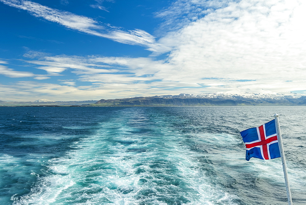 Looking back to mainland from ferry to Westman Islands, Iceland