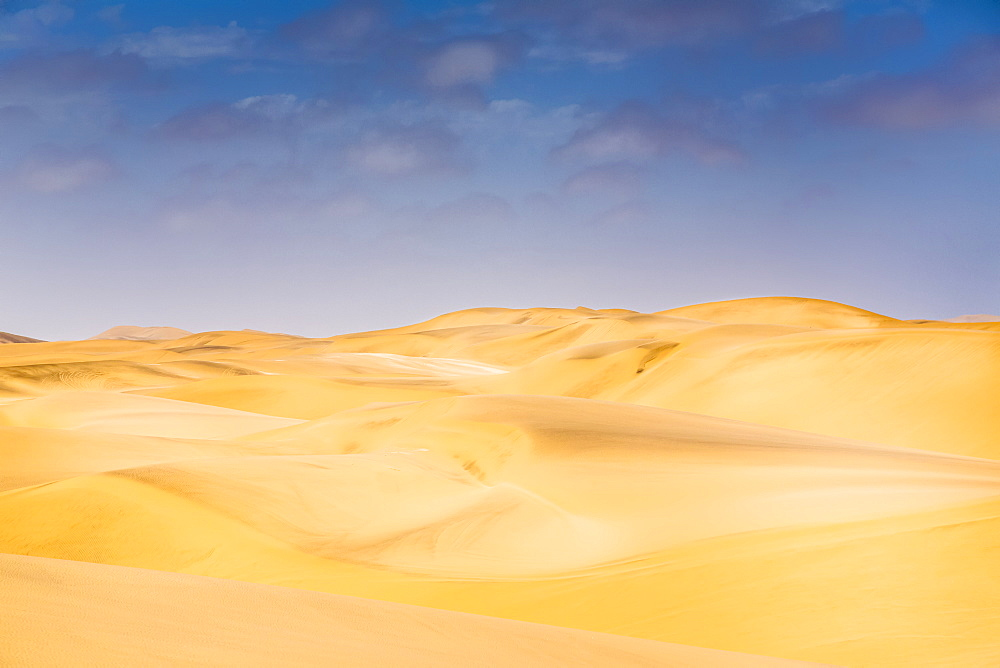 Golden sand dunes in the Namibia desert, Sossusvlei, Hardap Region, Namibia