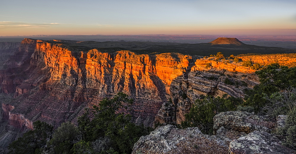 An extinct volcano near the edge of the Grand Canyon at sunset, Arizona, United States of America