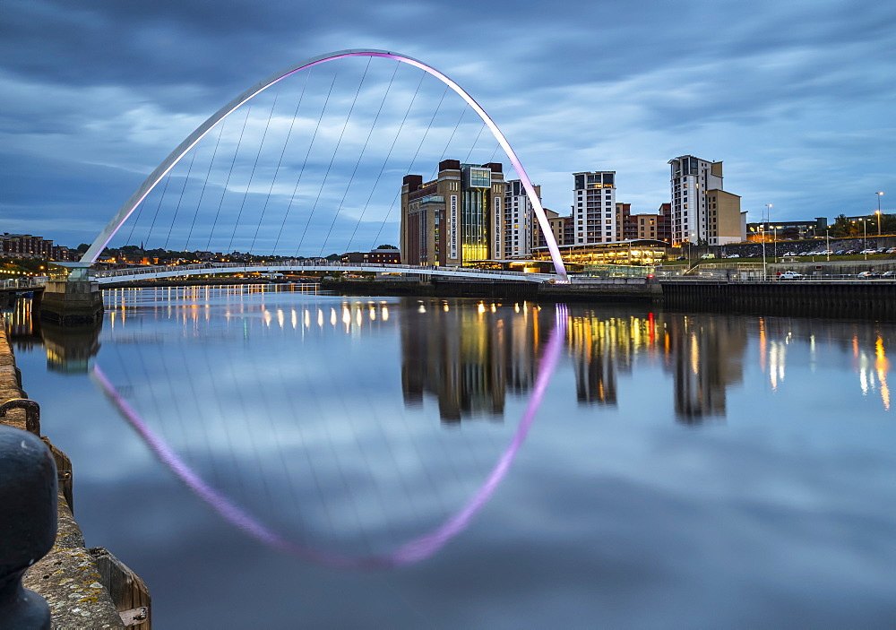 Gateshead Millennium Bridge and reflection in the River Tyne, Gateshead, Tyne and Wear, England