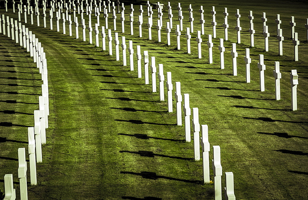 Rows of white crosses on grass, Cambridge American Cemetery and Memorial, Cambridge, Cambridgeshire, England
