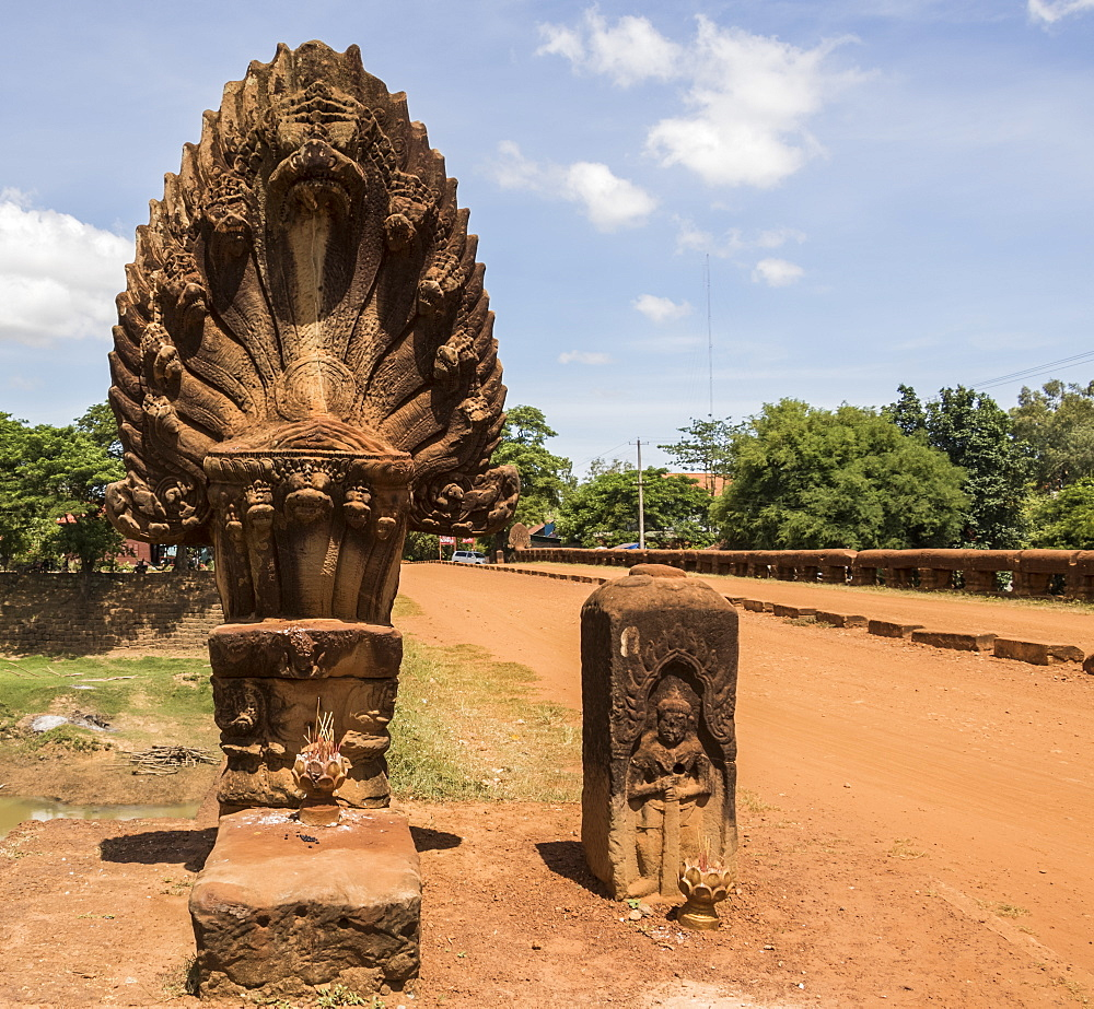 Naga sculpture on the Spean 'Preah Toeus' laterite bridge, dating to the Angkor period, Bayon Style (1181-1220), crossing the Chikreng River, Kampong Thom, Cambodia