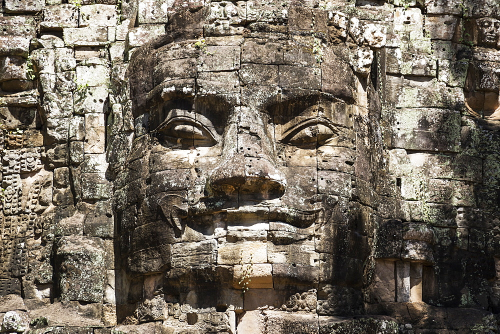 Face detail of the Victory Gate tower (Gopuram), Angkor Thom, Siem Reap, Cambodia