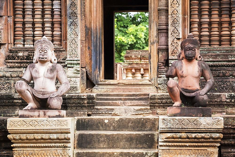 Sculptures of Hanuman, Banteay Srei, Angkor, Siem Reap, Cambodia