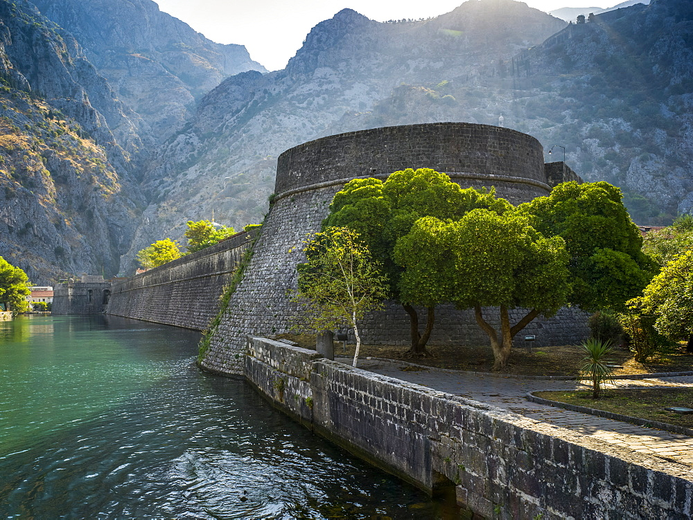 Walls in the old Mediterranean port of Kotor in the Bay of Kotor, Kotor, Kotor Municipality, Montenegro
