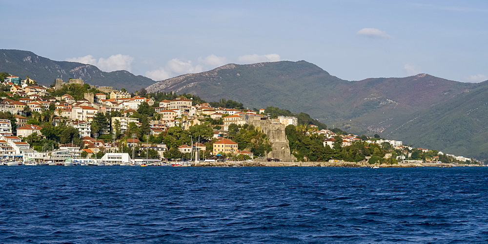 View of the town of Herceg Novi along the coast of Montenegro, Herceg Novi, Montenegro
