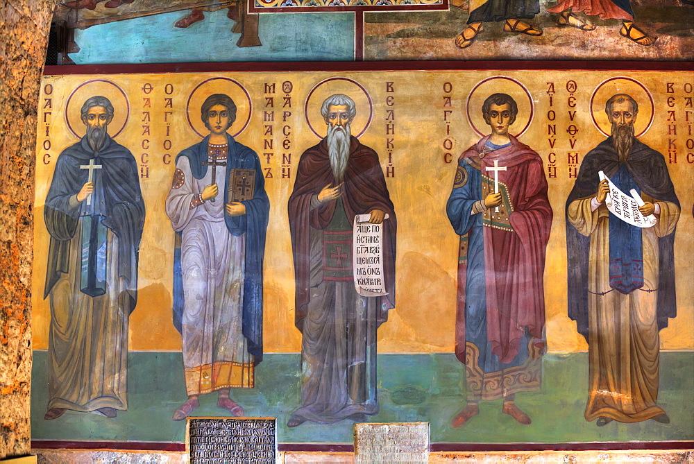 Interior fresco painting in St. Sophia Cathedral, Veliky Novgorod, Novgorod Oblast, Russia