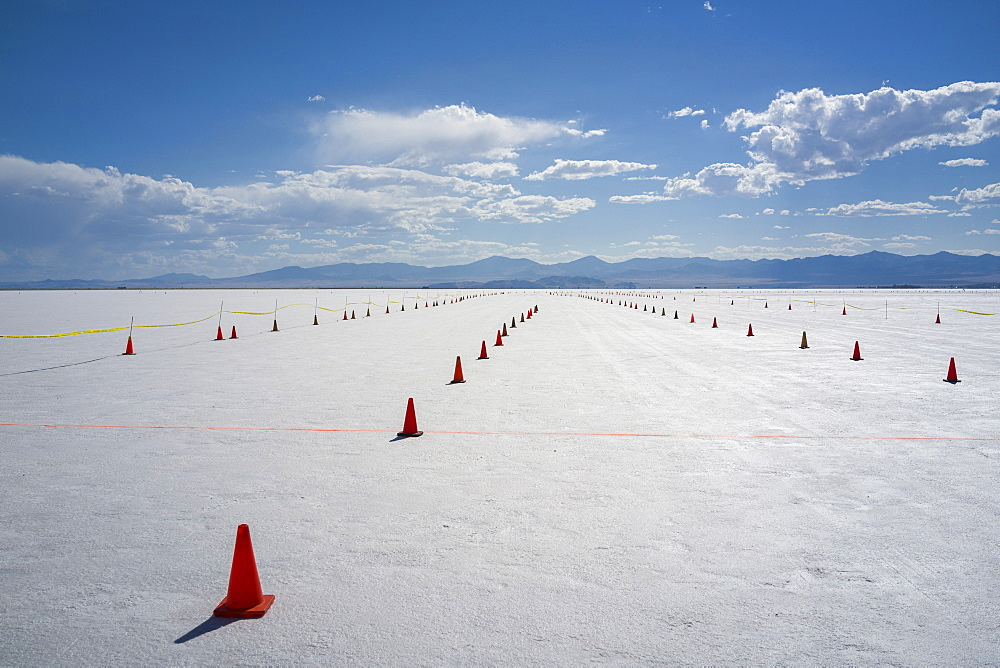 Staging lanes at starting line on Bonneville Salt Flats of Bonneville Speed Week 2017, Wendover, Utah, United States of America