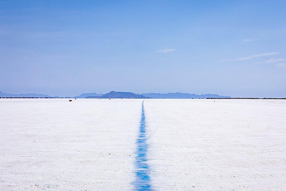 Blue line showing edge of track on Bonneville Speedway on Bonneville Salt Flats, Utah, United States of America
