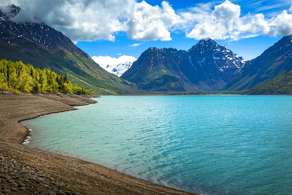 Scenic view of Eklutna Lake, Chugach State Park in summertime, South-central Alaska, Alaska, United States of America