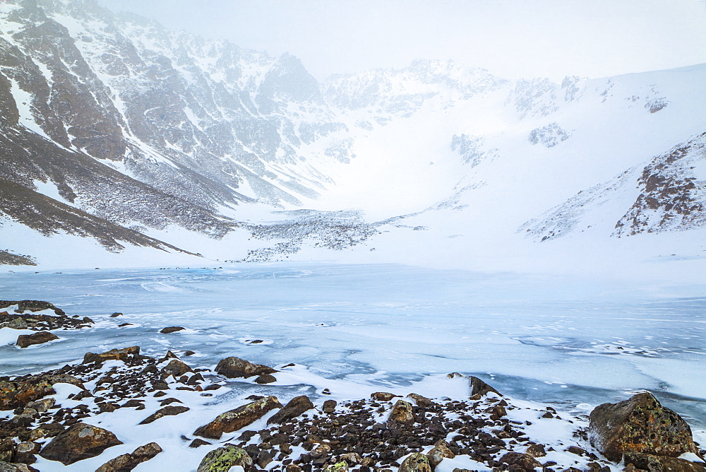 Frozen Hidden Lake and Hidden Peak with snow, Chugach State Park, South-central Alaska, Anchorage, Alaska, United States of America