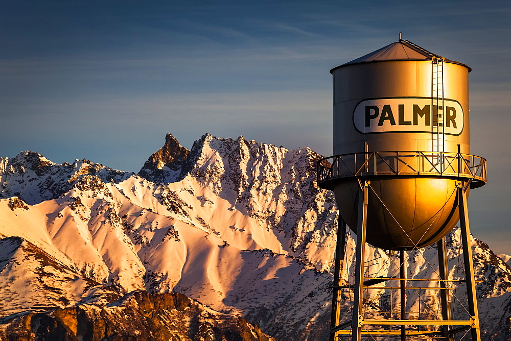 Palmer water tower and Matanuska Peak at sunset in winter, Matanuska Valley, South-central, Palmer, Alaska, United States of America