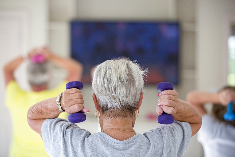 Rear view of senior woman exercising in gym