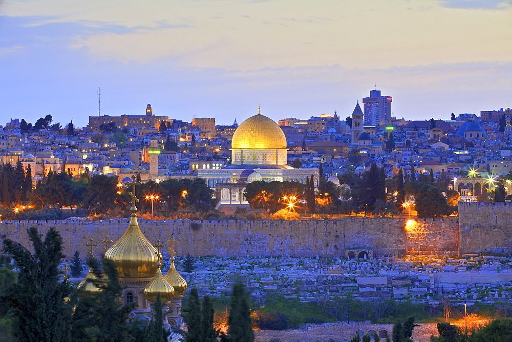 View of Jerusalem, UNESCO World Heritage Site, from The Mount of Olives, Jerusalem, Israel, Middle East