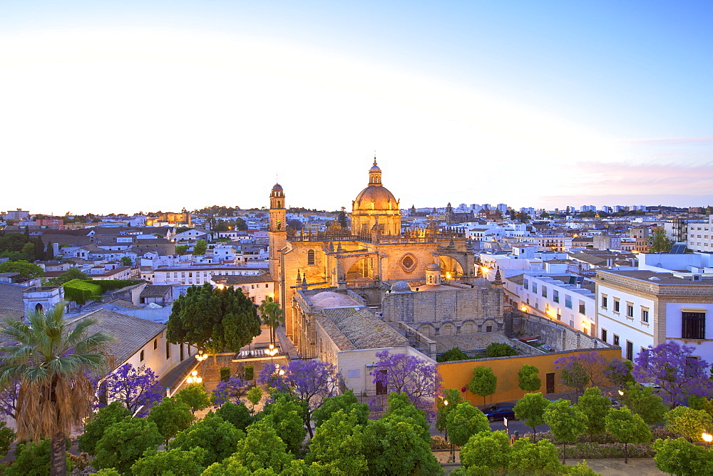 The Cathedral of San Salvador at dusk, Jerez de la Frontera, Cadiz Province, Andalucia, Spain, Europe