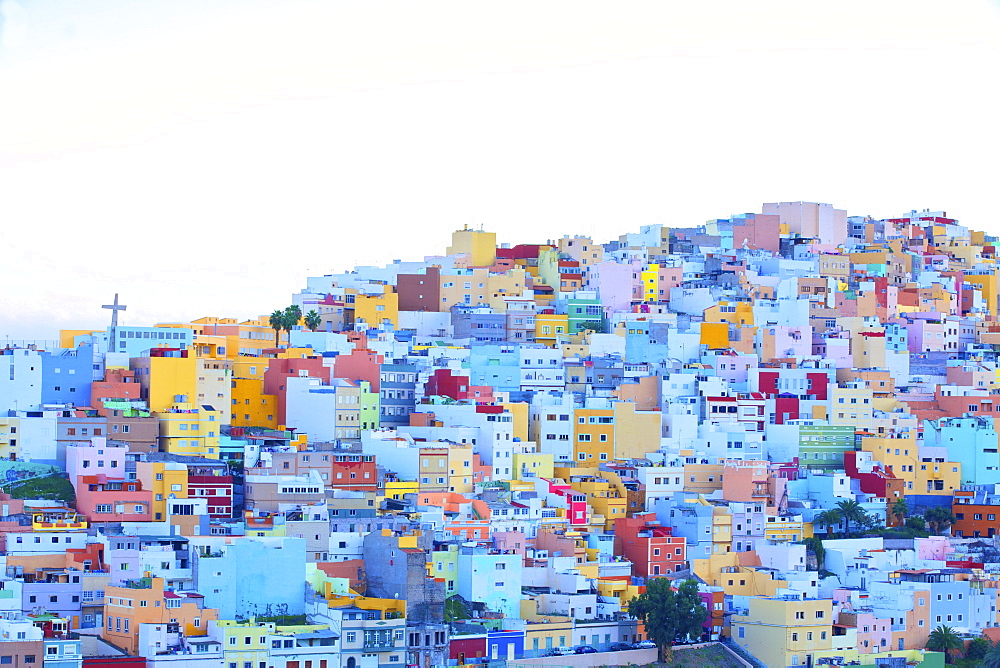 Colourful buildings in the San Juan District, Las Palmas de Gran Canaria, Gran Canaria, Canary Islands, Spain, Atlantic Ocean, Europe