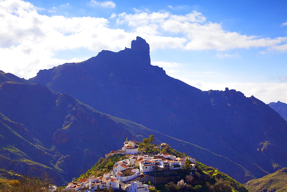 Tejeda with Roque Nublo in the background, Gran Canaria, Canary Islands, Spain, Atlantic Ocean, Europe