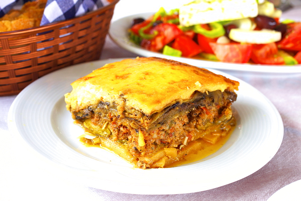 Moussaka, Crete, Greek Islands, Greece, Europe - 1126-1562