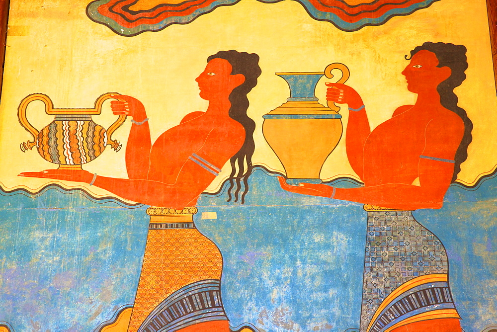 Cup-Bearer fresco in the South Propylon, The Minoan Palace of Knossos, Knossos, Heraklion, Crete, Greek Islands, Greece, Europe - 1126-1564