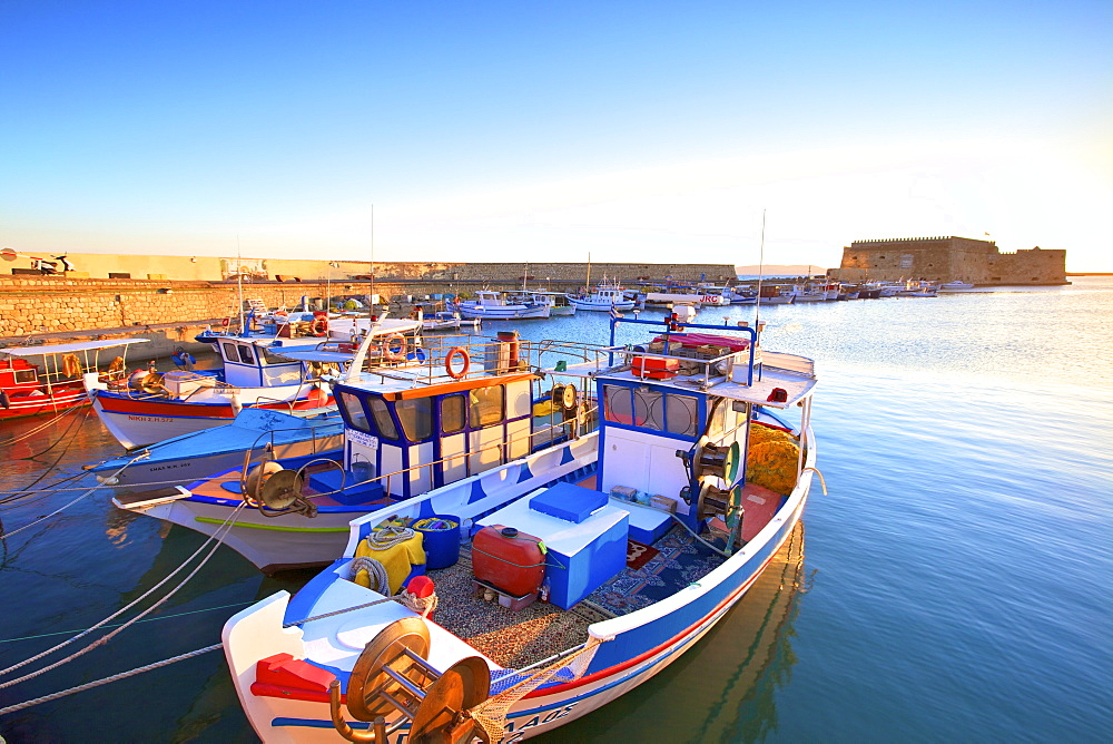 The boat lined Venetian Harbour and Fortress, Heraklion, Crete, Greek Islands, Greece, Europe - 1126-1568