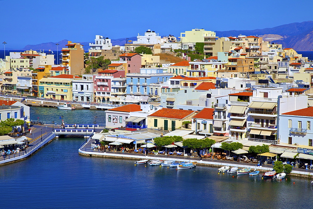 Agios Nikolaos Harbour from an elevated angle, Agios Nikolaos, Crete, Greek Islands, Greece, Europe - 1126-1576