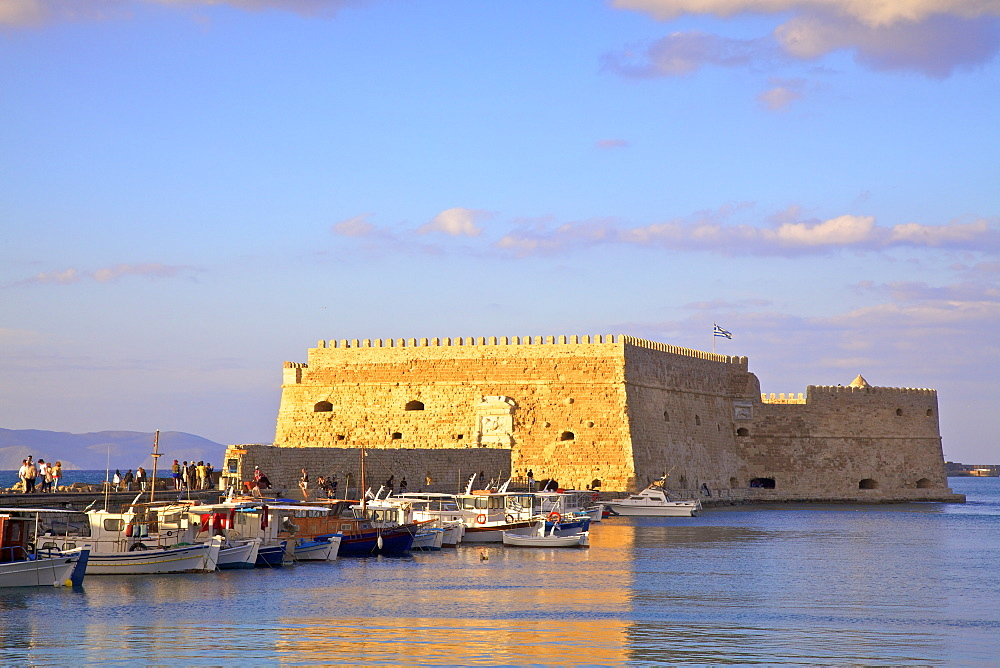 The boat lined Venetian Harbour and Fortress, Heraklion, Crete, Greek Islands, Greece, Europe - 1126-1584