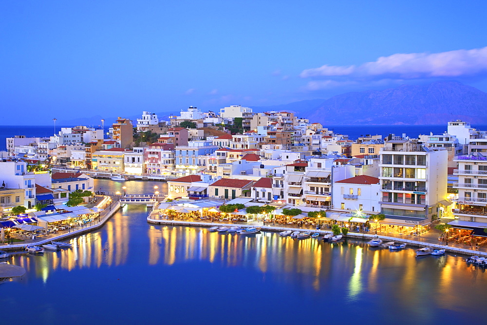 Agios Nikolaos Harbour from an elevated angle at dusk, Agios Nikolaos, Crete, Greek Islands, Greece, Europe - 1126-1587